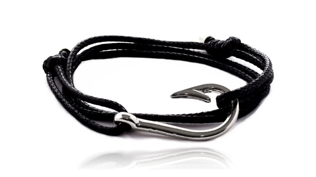 bracelet hook noir argent ruban rouge bijoux. Black Bedroom Furniture Sets. Home Design Ideas