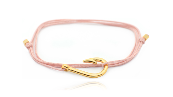 BRACELET HOOK MINI ROSE PASTEL OR