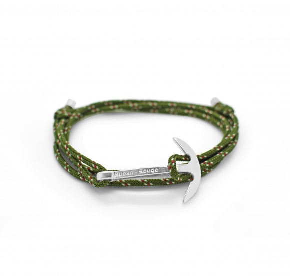 bracelet captain ancre hook hameçon argent ruban rouge bijoux marseille nautique kaki