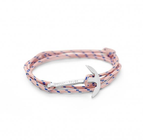 bracelet captain ancre ruban rouge bijoux marseille rose nautique