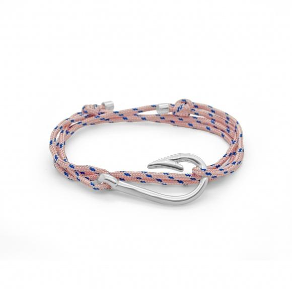 bracelet captain ancre hook hameçon argent ruban rouge bijoux marseille nautique rose