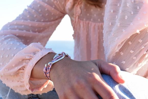 bracelet hook hameçon argent ruban rouge bijoux marseille nautique rose